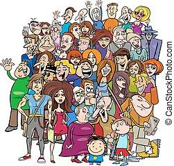 Gente de dibujos animados en la multitud
