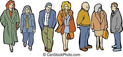 Gente de grupo de largo