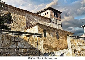 Gente de la iglesia en la provincia de Burgos España