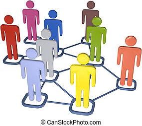 Gente de negocios 3D red de medios sociales