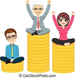 Gente de negocios compiten con el concepto de podio