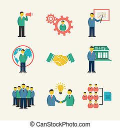 Gente de negocios con íconos planos