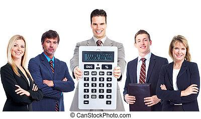 Gente de negocios con calculadora.