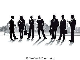 Gente de negocios con ciudades