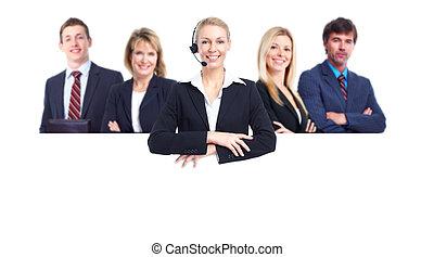 Gente de negocios con estandarte.
