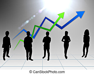 Gente de negocios con gráfico