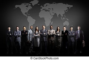 Gente de negocios con mapa mundial