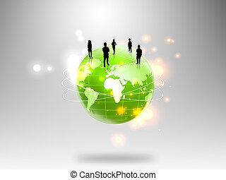 Gente de negocios con mundo