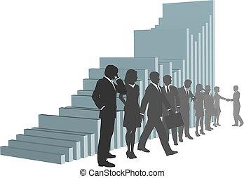 Gente de negocios con un gráfico de crecimiento
