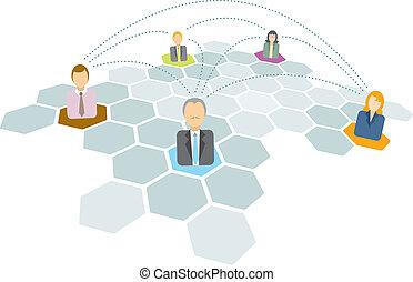 Gente de negocios conectando iconos