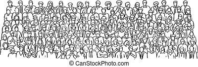 Gente de negocios del grupo Doodle en la reunión del vector de la sala de ilustración mano dibujada con líneas negras aisladas en el fondo blanco