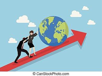 Gente de negocios empujando al mundo en gráfico