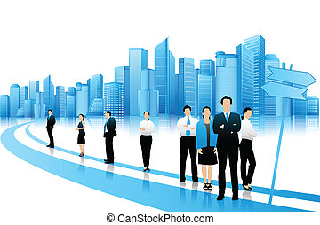 Gente de negocios en camino