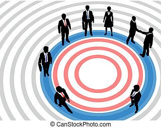 Gente de negocios en el círculo de marketing