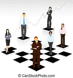 Gente de negocios en el tablero de ajedrez