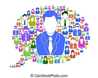 Gente de negocios en la burbuja del habla