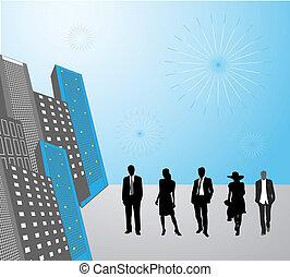 Gente de negocios en la ciudad