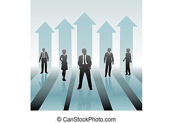 Gente de negocios en movimiento en flechas