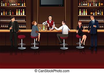 Gente de negocios en un bar