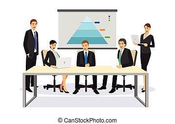 Gente de negocios en una ilustración de reuniones
