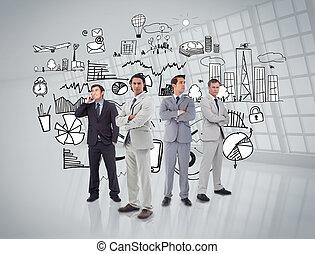 Gente de negocios frente a los gráficos