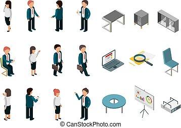Gente de negocios isometría. Oficina de suministros corporativos, gerentes de muebles, directores de recolección de vectores