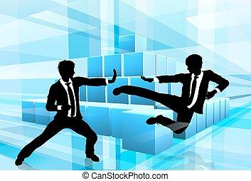 Gente de negocios luchando contra el concepto de competencia