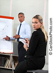 Gente de negocios mirando un flipcart