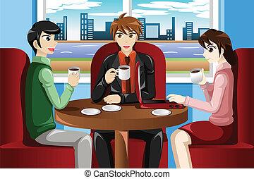 Gente de negocios reuniéndose en el café