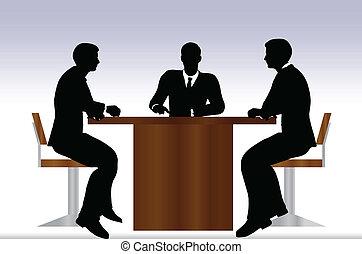 Gente de negocios reuniéndose en silueta