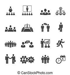 Gente de negocios reuniones y iconos de conferencias