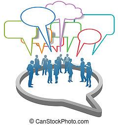 Gente de negocios sociales dentro de la burbuja del habla