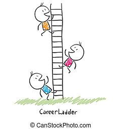 Gente de negocios subiendo por la escalera corporativa. Ilustración conceptiva de la carrera