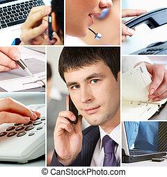 Gente de negocios y objetos