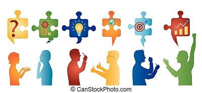 Gente de perfil color gestando. Trozos de rompecabezas con símbolos de resolver problemas. Solución de negocios. Concepto el equipo de resolución de problemas. Estrategia y éxito. Servicio al cliente
