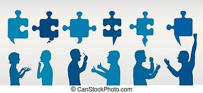 Gente de perfiles gestando con piezas de rompecabezas. Solución de negocios. Concepto el equipo de resolución de problemas. Estrategia y éxito. Servicio al cliente. Azul y gris