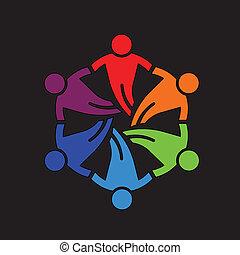 Gente de trabajo en equipo amigos 6 iconos de diseño