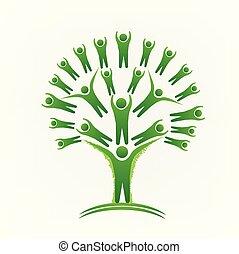 Gente de trabajo en equipo de árboles verdes logo imagen vectorial