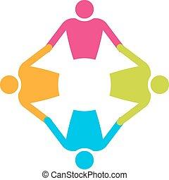 Gente de trabajo en equipo en el círculo 4. De la mano.