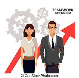 Gente de trabajo en equipo engranajes de crecimiento