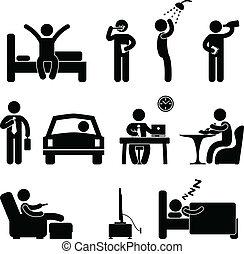 gente, diario, señal, rutina, icono, hombre