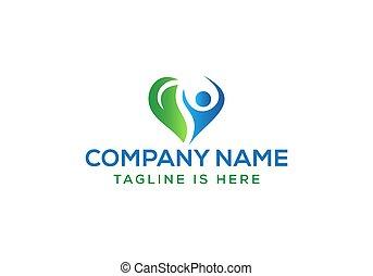gente, diseño, feliz, sano, logotipo