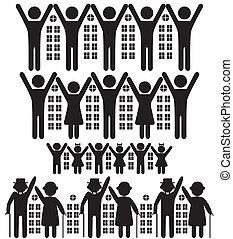 Gente, edificios