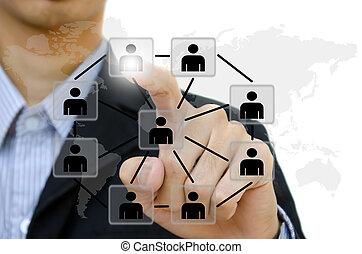 gente, empujar, social, red, comunicación, empresa / negocio, whiteboard., joven