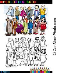 Gente en cola para colorear