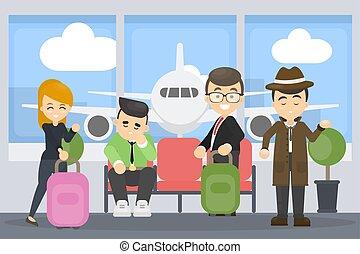 Gente en el aeropuerto.
