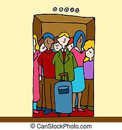 Gente en el ascensor