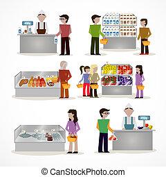 Gente en el supermercado