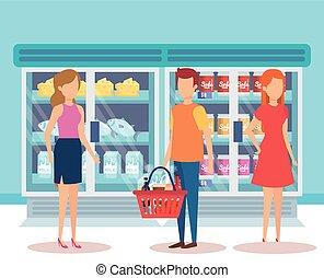 Gente en el supermercado con productos