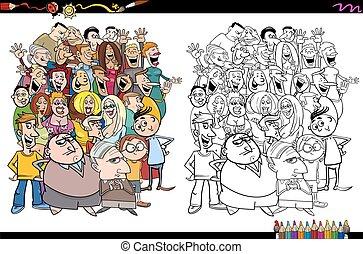 Gente en la página de colorear